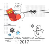 Merry Christmas Happy New Year Simple Line Sketch Banner Card Outline. Vector Illustration Stock Image