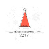 Merry Christmas Happy New Year Simple Line Sketch Banner Card Outline Royalty Free Stock Images