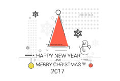 Merry Christmas Happy New Year Simple Line Sketch Banner Card Outline Stock Image
