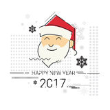 Merry Christmas Happy New Year Simple Line Sketch Banner Card Outline Stock Photos