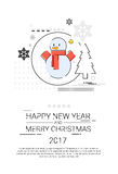 Merry Christmas Happy New Year Simple Line Sketch Banner Card Outline. Vector Illustration Royalty Free Stock Photo
