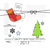 Merry Christmas Happy New Year Simple Line Sketch. Banner Card Outline Vector Illustration Stock Photos