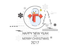 Merry Christmas Happy New Year Simple Line Sketch. Banner Card Outline Vector Illustration Stock Photography