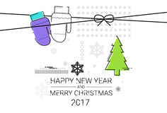 Merry Christmas Happy New Year Simple Line Sketch Banner. Card Outline Vector Illustration Stock Image