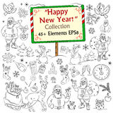 Merry Christmas and Happy New Year sketch collection Stock Image