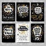 Merry Christmas Happy New Year sketch style. Merry Christmas Happy New set sketch style. Christmas lettering greeting cards. Golden festive doodles trendy vector illustration