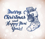 Merry Christmas and Happy New Year. Sketch vector. Merry Christmas and Happy New Year. Sketch greeting card vector Royalty Free Stock Image