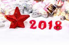 Happy New Year 2018. Merry Christmas and Happy New Year 2018 on snow Stock Images