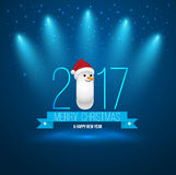 2017 Merry Christmas and Happy New Year with snow man. Greeting Card design banner on blue background with spotlight. Vector illustration Royalty Free Stock Photo