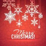 Merry Christmas and Happy New Year Snowflake Card Stock Image