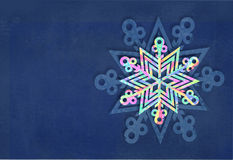 Merry Christmas and happy new year snowflake made with colorful triangles background. Christmas festive card. Royalty Free Stock Photo