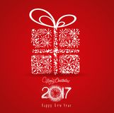 Merry christmas and happy new year 2017. Snowflakes gift.  royalty free illustration