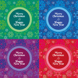 Merry Christmas and Happy New Year snowflakes pattern. Merry Christmas and Happy New Year greeting card with seamless snowflakes pattern in four different colors Stock Photo