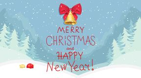 Merry Christmas and Happy New Year. Snowy forest vector illustration