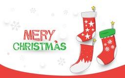 Merry Christmas. happy new year. Christmas socks on white background. Illustration vector royalty free illustration