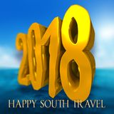 Merry Christmas and Happy new year 2018 in the south hemisphere. Merry Christmas and Happy new year 2018 greeting card for web and print. Happy south travel and vector illustration