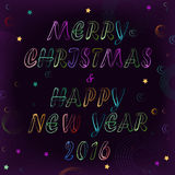 Merry Christmas and Happy New Year with space background Stock Images