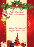 Merry Christmas and Happy New Year - Spanish greeting card Stock Image