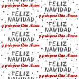 Merry Christmas and Happy New Year in Spanish seamless pattern on white Royalty Free Stock Photography