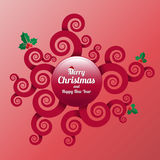 Merry Christmas And Happy New Year spirals banner. Royalty Free Stock Images