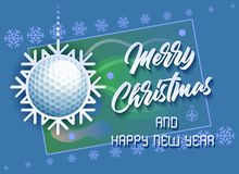 Merry Christmas and Happy New Year. Sports card with a Golf ball as a Snowflake and a Golf Cours.