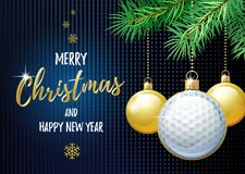 Merry Christmas and Happy New Year. Sports greeting card. Golf.