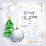 Merry Christmas. Happy New Year. Sports greeting card. Golf.