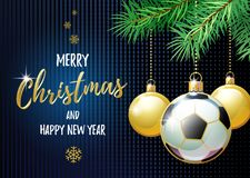 Merry Christmas and Happy New Year. Sports greeting card. Soccer. Merry Christmas and Happy New Year. Sports greeting card. Soccer ball as a Christmas ball Royalty Free Stock Photos