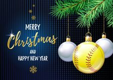 Merry Christmas and Happy New Year. Sports greeting card. Softball. Ball as a Christmas ball. Vector illustration stock illustration