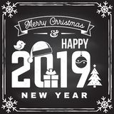 Merry Christmas and 2019 Happy New Year stamp, sticker set with snowflakes, hanging christmas ball, santa hat, candy. Vector. Vintage typography design for stock illustration
