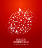 Merry Christmas and Happy New Year stars bauble ca. Merry Christmas and Happy New Year 2014 contemporary hanging bauble stars composition card. EPS10 vector file stock illustration