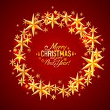 Merry Christmas and happy new year stars circle. Vector background, design royalty free illustration