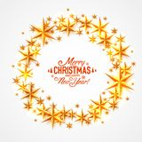 Merry Christmas and happy new year stars circle. Vector background, design stock illustration