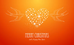 Merry Christmas and Happy New Year stars greeting. Merry Christmas and Happy New Year 2014 contemporary peace dove love stars composition card. EPS10 vector Stock Photo