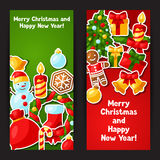 Merry Christmas and Happy New Year sticker banners Royalty Free Stock Photography