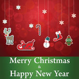 Merry Christmas and Happy New Year sticker set Royalty Free Stock Photos