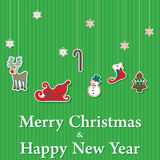 Merry Christmas and Happy New Year sticker set Royalty Free Stock Images
