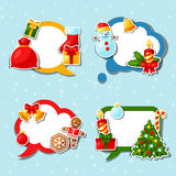 Merry Christmas and Happy New Year sticker speech Royalty Free Stock Photos
