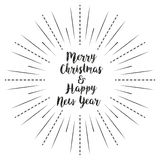 Merry Christmas and Happy New Year with sun rays linear background stock illustration