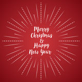 Merry Christmas and Happy New Year with sun rays red linear background stock illustration