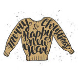 Merry Christmas and Happy New Year in sweater stock illustration