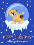 Merry Christmas and Happy New Year 2018 Symbol. Beige spotted dog on snowy background. Vector illustration with cute smiling pet in colorful collar Stock Photo