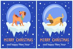 Merry Christmas and Happy New Year 2018 Symbols. Merry Christmas and Happy New Year 2018 symbol happy dogs on dark snowy background. Vector illustration with Royalty Free Stock Photos
