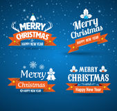 Merry christmas and happy new year tag lettering. Royalty Free Stock Image