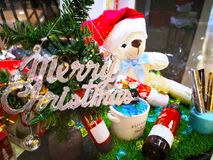 Merry Christmas and happy new year. Teddy bear doll and many toy Royalty Free Stock Photography