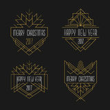 Merry Christmas and Happy New Year text. Art deco badges in outline style. 2017 Xmas card Royalty Free Stock Photography
