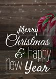 Merry Christmas and happy new year text on Christmas background with snow. Digital composite of merry Christmas and happy new year text on Christmas background royalty free illustration