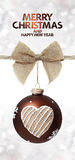 Merry christmas and happy new year text with ball and jute ribbo. N bow Royalty Free Stock Image