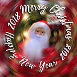 Merry Christmas and Happy New Year text on blurred background with Santa Claus. Abstract Merry Christmas and Happy New Year text on blurred background with Santa Royalty Free Stock Image