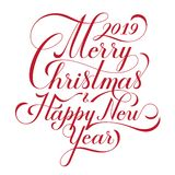 Merry Christmas and Happy New Year. Text. Calligraphic Lettering design card template. Creative typography for Holiday vector illustration